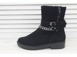 4/4-Кожаные женские зимние ботинки.-200.Замш.