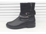 4/4-Кожаные женские зимние ботинки.-200.