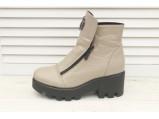 4/4-Кожаные женские зимние ботинки.-016.Беж.