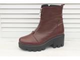 4/4-Кожаные женские зимние ботинки.-25.Бордовый.
