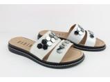 Босоножки (шлёпанцы) женские кожаные-SLI-146 Серебро. Размеры-36.40.