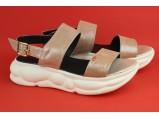 Шлёпанцы женские кожаные-01 Пудра. Размеры-36.39.40-25 см.