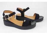 Шлёпанцы женские кожаные-8/1-98/2 Чёрный-замш. Размеры- 40-25.5 см.